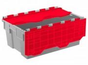 Bac de distribution emboîtable 42 litres - Bac gris et rouge 600 x 400 avec couvercle intégré