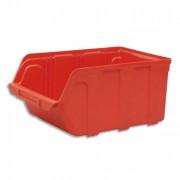 Bac de rangement à bec 10L Tekni avec porte étiquette en polypropylène rouge L20xH15xP33cm - Viso