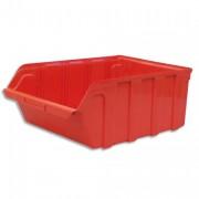 Bac de rangement à bec 28L Tekni avec porte étiquette en polypropylène rouge L30,5xH17,5xP46cm - Viso