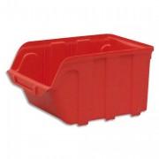 Bac de rangement à bec 4L Tekni avec porte étiquette en polypropylène rouge L14xH12,5xP23cm - Viso