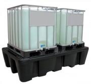 Bac de rétention 1100 l - PEHD - Pour 2 cubitainer, 2 cuves PE, IBC ou 8 fûts debout
