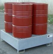 Bac de rétention 4 fûts en acier - Rétention : 440 litres - En acier galvanisé