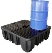 Bac de rétention 4 fûts en PEHD - Capacité de rétention : 250 ou 485 litres - A caillebotis