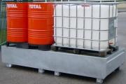 Bac de rétention acier 2 cuves IBC - Capacité : 1000 Litres - En acier galvanisé