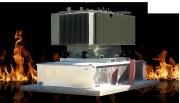 Bac de rétention anti feu pour transformateur électrique - Volets coupe feux spéciaux en partie supérieure du bac