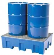 Bac de rétention avec caillebotis pour 2 fûts - Capacité de stockage avec caillebotis : 2 fûts de 200 litres