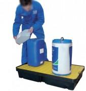 Bac de rétention petits contenants - En PEHD - Capacité : 60 Litres (avec ou sans caillebotis)