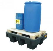 Bac de rétention plastique 2 fûts - Capacité de stockage avec caillebotis : 2 fûts de 200 l ou 6 bidons de 60 l
