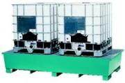 Bac de rétention pour 2 cubitainer en acier - Bac de rétention pour cubitainer