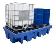Bac de rétention pour 2 récipients en vrac - Fabriqué en polyéthylène