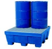 Bac de rétention pour 4 fûts de 200 litres - En PE 400L