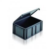 Bac plastique Normes Europe à couvercle solidaire - Capacité : 45L - Dim: L.600 x lg.400 x H.246 mm - Matière : Polypropylène