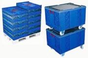 Bac plastique pliable à fond plein - Usage : Industriel - Dimensions extérieures (L x l x H) : 800 x 600 x 485 mm