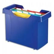 Bac pour dossiers suspendus Décoflex Plus, polystyrène choc bleu, livré avec 8 dossiers couleur - Leitz