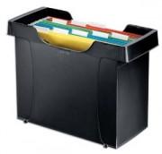Bac pour dossiers suspendus Décoflex Plus, polystyrène choc noir, livré avec 8 dossiers couleur - Leitz