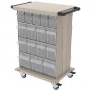 Bac rangement medical basculant - Sur rails, échelles, chariot roulant ou armoires