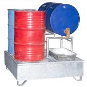 Bac rétention acier a soutirage - Prévu pour 4 fûts avec capacité de rétention de 2 fûts