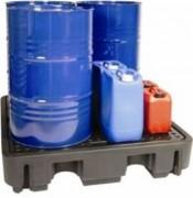 Bac rétention stockage 4 fûts - En polyéthylène - Capacité de rétention : 250 litres