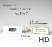 Badge d'identification aimanté et personnalisé - Lot de 10 Badges aimantés PVC 85 x 27 mm