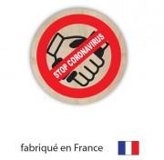 Badge personnalisé spécial Covid - Badges plastique ou bois avec attache épingle