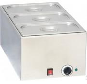 Bain marie électrique 3 bacs GN avec couvercle - Thermostat avec 5 niveaux de température 0°C à 90°C