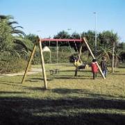 Balançoire 2 places bébé - Dimensions (L x P x H) : 385 x 260 x 250 cm - bois de pin - acier
