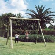 Balançoire avec 2 sièges bébé - Dimensions (L x P x H) cm : 400 x 230 x 275