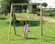 Balançoire en bois - Dimensions (L x P x H) cm : 149 x 180 x 210