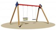 Balançoire en bois à 2 sièges - Dimensions (L x P x H) cm : 385 x 260 x 250