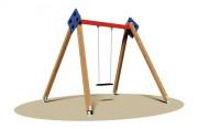 Balançoire en bois avec siège bébé - Dimensions (L x P x H) cm : 270 x 260 x 250