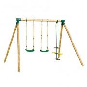 Balançoire toboggan - Portique en bois : 1 toboggan + 1 balançoire dure + 1 balançoire souple + 1 échelle