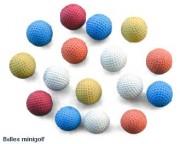 Balles pour minigolf - Couleurs : bleu - blanc - rouge - orange - jaune.