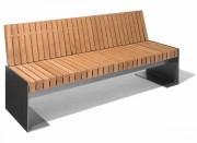 Banc à assise et dossier bois - En bois exotique ou en douglas - Structure tôle d'acier galva