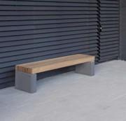Banc béton à lames en douglas - Lames en bois exotique : 120x55 mm