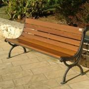 Banc d'extérieur bois et métal - Hauteur assise (cm) : 40 - Dimensions (L x P x H) cm : 160 x 62 x 78