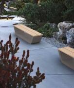 Banc de jardin en béton et bois - Dimensions (L x h x P) cm : 180 x 49 x 50