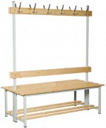 Banc de vestiaire double bois et acier - Dimensions extérieures (L x P x H) mm : De 1000 x 700 x 1745 à 2000 x 700 x 1745