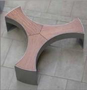 Banc en acier et en bois design - Finitions inox ou galvanisé verni