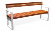 Banc en acier et en bois L 1800 mm - Finitions inox ou galvanisé verni
