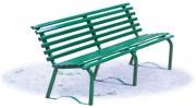 Banc en acier pour jardin public - Hauteur assise : 43 cm. - Dimensions (L x P x H) cm : 200 x 43 x 74