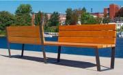 Banc en bois à double coté - Finition galvanisé verni