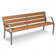 Banc en bois avec dossier et accoudoir - Longueur (mm) : 2000