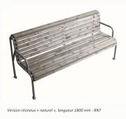 Banc en bois ergonomique - Pieds tubes acier