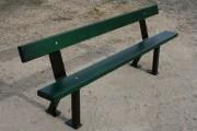 Banc en lame de bois avec pieds acier - Dimensions (L x l x H) cm : 150 x 27 x 48 et 200 x 38 x 68