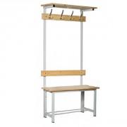 Banc et penderie bois et acier - Hauteur : 1800 mm - Longueur : Jusqu'à 2000  mm - Structure soudée