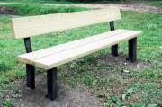 Banc extérieur en bois piètement aluminium - Assise section 46 x 145 x 2000mm