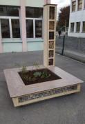 Banc jardinière gabion - Assise en bois