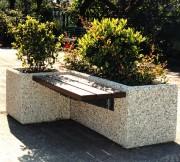 Banc jardinière public - Assise en bois Iroko
