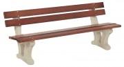 Banc public bois beton - Dimensions (L x h x p) m : 1.96 x 0.78 x 0.65
