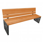 Banc public design bois et acier - Longueur : 2000 mm